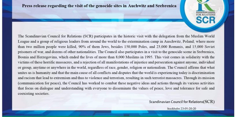 Press release regarding the visit of the genocide sites in Auchwitz and Srebrenica